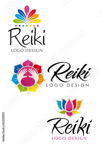 Photo  Three different Reiki logos with floral theme with the colors of the seven chakr