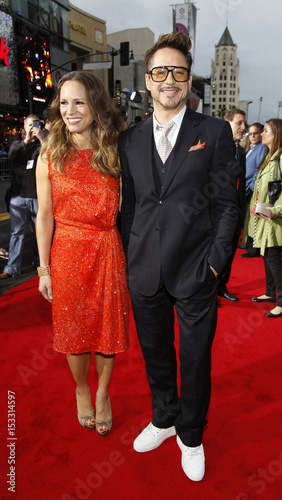 Cast member Robert Downey Jr  and his wife Susan pose at the