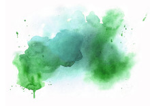 Watrcolor Abstract Green Texture Background
