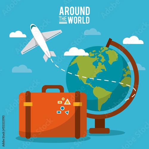 Plakat dookoła świata. globus świata samolot walizka niebo wektor ilustracja