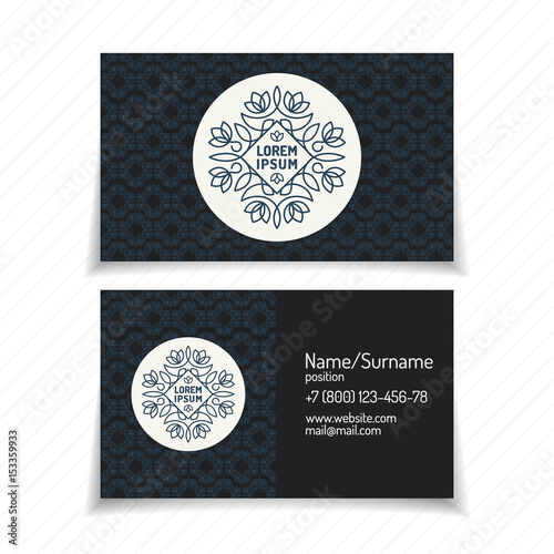 Business Card With Monogram Logo Line Style Modern Gradient Color On Vintage Background