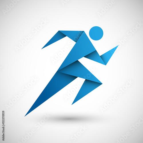 biegacz origami wektor - fototapety na wymiar
