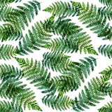 Tropical watercolor abstract pattern with fern leaves - 153372351