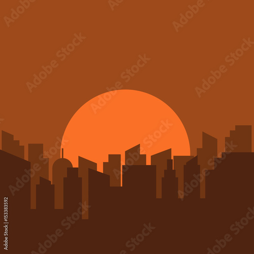 Poster Violet Silhouette of urban scenery in the morning