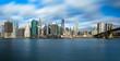 Manhattan skyline and Brooklyn Bridge with waves ot the Hudson river