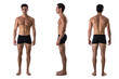 canvas print picture - Triple view of shirtless bodybuilder: back, front, side