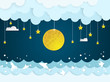 sea and ocean with full moon and cloud.paper art style