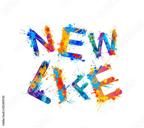 Fototapety, obrazy: New life. Splash paint sogan