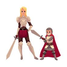 Medieval Woman Knight In Metal...
