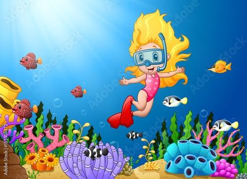 Aluminium Prints Submarine Cartoon girl diving in the sea