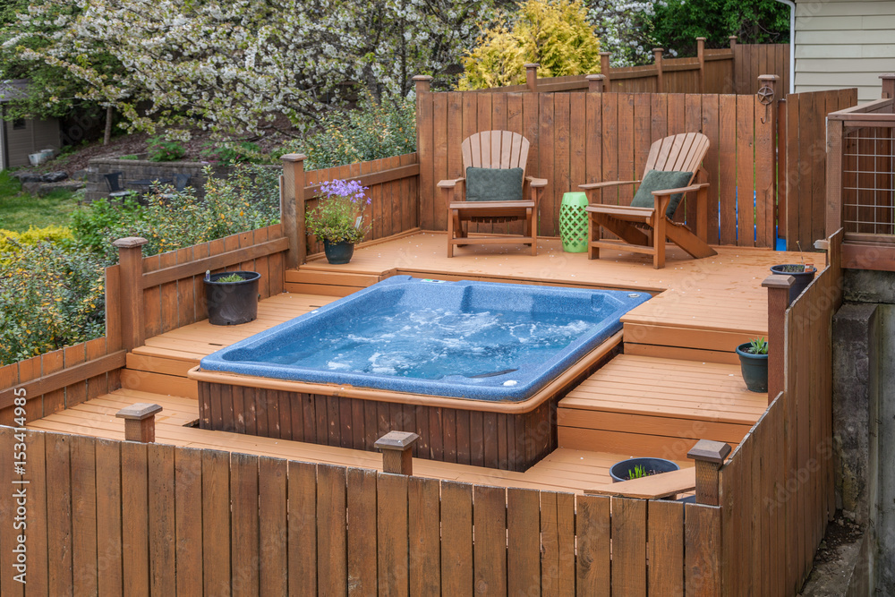 Fototapety, obrazy: outdoor spa on deck