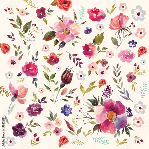 Leinwand Poster  Watercolor floral pattern