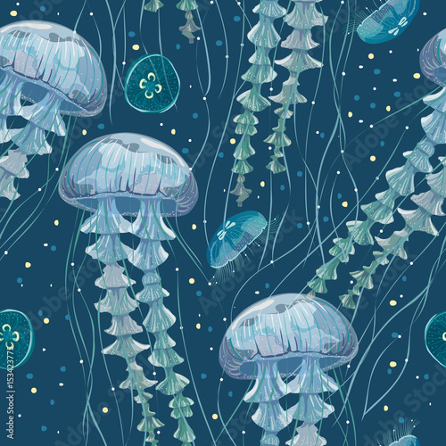 Seamless pattern with detailed transparent jellyfish. Blue sea jelly on white background. Vector illustration