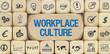 canvas print picture - Workplace Culture / Würfel mit Symbole