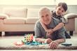 Leinwandbild Motiv Grandpa and grandson