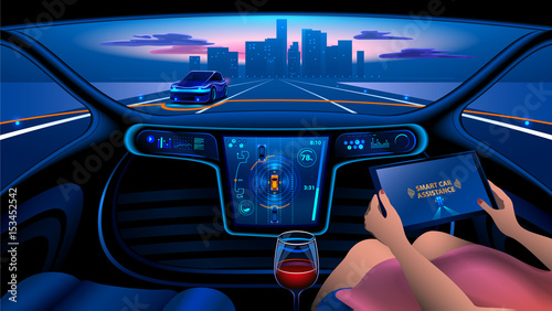 Autonomous Smart Car Interior A Woman Rides A Autonomous Car In The