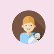new father who holding crying baby in hands, icon. flat design