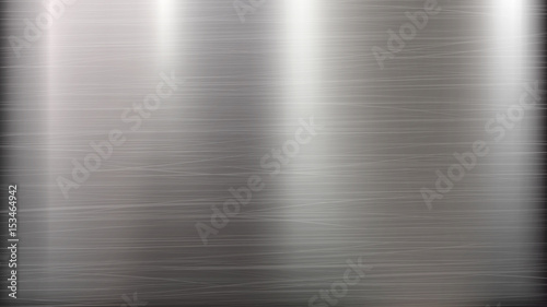 Fototapeta Metal Abstract Technology Background. Polished, Brushed Texture. Chrome, Silver, Steel, Aluminum. Vector illustration. obraz