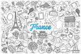 Hand drawn France doodle set background with blue lettering in vector - 153469709