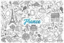 Hand Drawn France Doodle Set B...