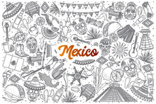 Hand Drawn Mexico Doodle Set Background With Orange Lettering In Vector