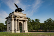 Wellington Arch, Also Known As Constitution Arch Or The Green Park Arch, Is A Monument In Hyde Park, London, England, UK And Often Mistakenly Referred To As Marble Arch. Copy Space