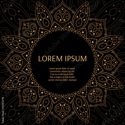 0c017491ec5 Gold black luxury background design vector. Sun symbol pattern frame.  Oriental indian mandala ornament for fashion print