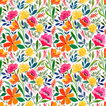Seamless Pattern With Bright Summer Meadow Flowers, Floral Ornament.
