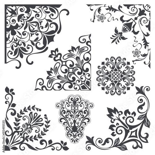 Vintage decorative floral corner design elements vector set  - Buy