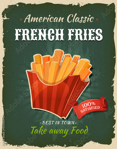 Retro Fast Food French Fries Poster © benchart
