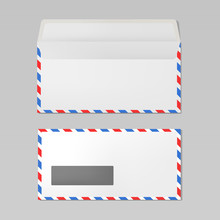 Set Of Airmail Envelopes Open And Closed View, Realistic Mockup
