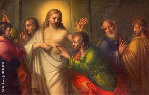 TURIN, ITALY - MARCH 13, 2017: The The painting The Doubt of St. Thomas in Church Chiesa di Santo Tomaso by unknown artist of 18. cent.