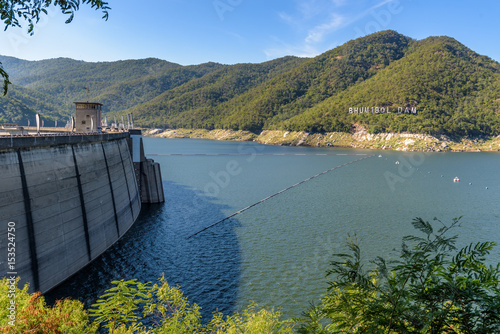Photo sur Toile Barrage Bhumibol Dam, Concrete Arch Dam on Ping River