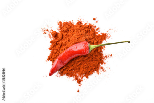 Staande foto Hot chili peppers red hot chili pepper on chili powder
