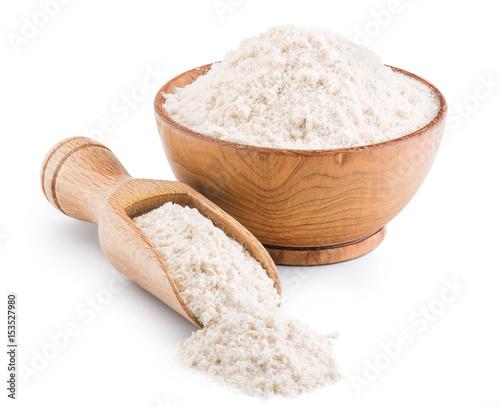 Fototapeta Whole grain wheat flour isolated on white obraz