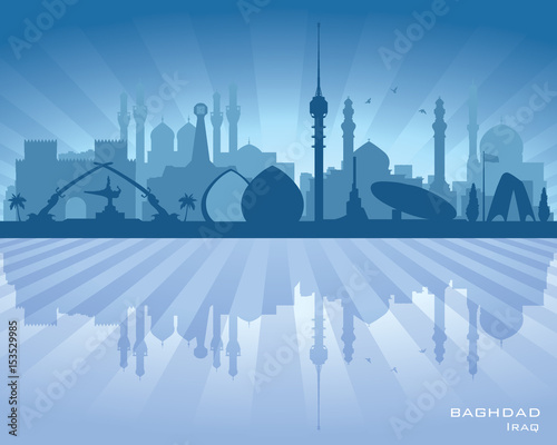 Fényképezés  Baghdad Iraq city skyline vector silhouette