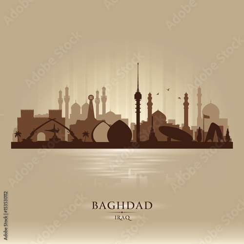 Fotografie, Tablou Baghdad Iraq city skyline vector silhouette