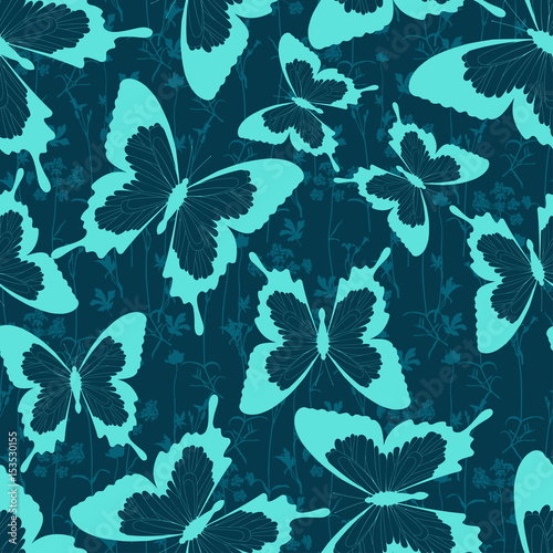 Seamless pattern of flying butterflies, flowers and herbs. Tropical butterfly silhouette. Hand drawn vector illustration