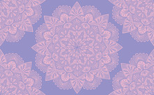 Elegant Purple And Pink Mandala Seamless Pattern Design. Perfect For Backgrounds And Wallpaper Designs. Vector Illustration.