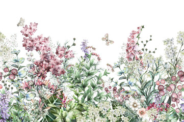 Fototapetaseamless rim. Border with Herbs and wild flowers, leaves. Botanical Illustration Colorful illustration on white background. Spring composition with butterfly