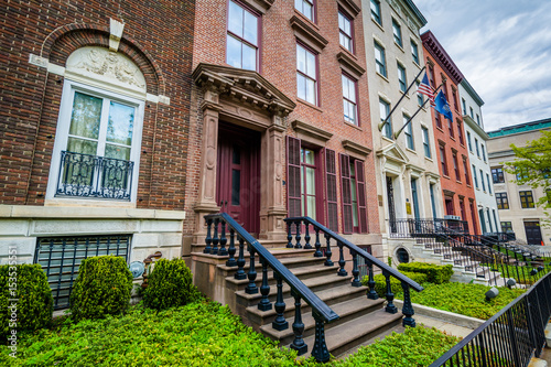 Fotografie, Tablou Brick rowhouses on Elk Street in Albany, New York.