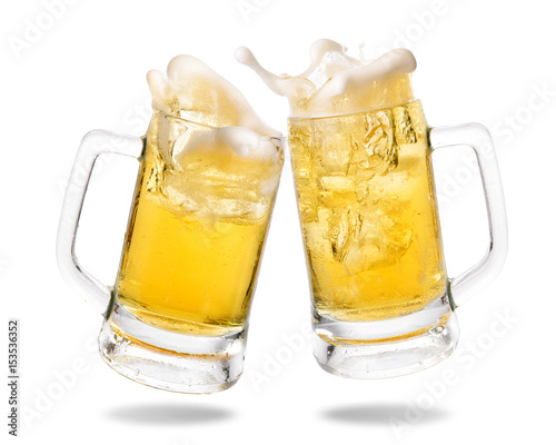 Deurstickers Bier / Cider Cheers cold beer with splashing out of glasses on white background.