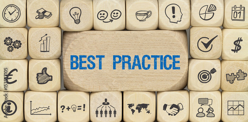 Fotografie, Obraz  Best Practice / Würfel mit Symbole