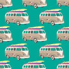 Seamless Pattern With Old Van ...