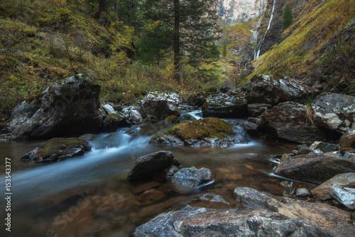 Printed kitchen splashbacks River Waterfall on river Shinok