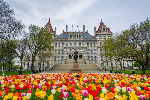 Tulips and The New York State Capitol, in Albany, New York. Tablou Canvas
