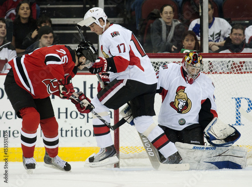 Ottawa Senators Goalie Anderson Makes A Save On A Shot By New Jersey