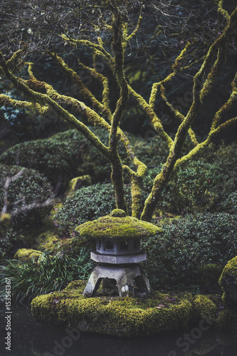 High angle view of stone lantern at park Poster