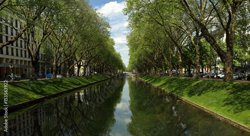 Fotobehang Kanaal Panorama summer bright view of the historic trade avenue Koenigsallee (King's Avenue) Germany with canal in the middle, Dusseldorf, Germany