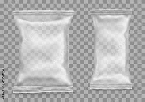 Fototapeta Polypropylene package on transparent background. Vector illustration obraz